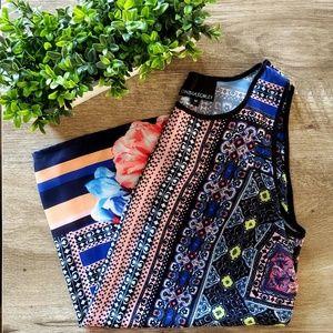 Cynthia Rowley Mixed Pattern Floral Print Blouse